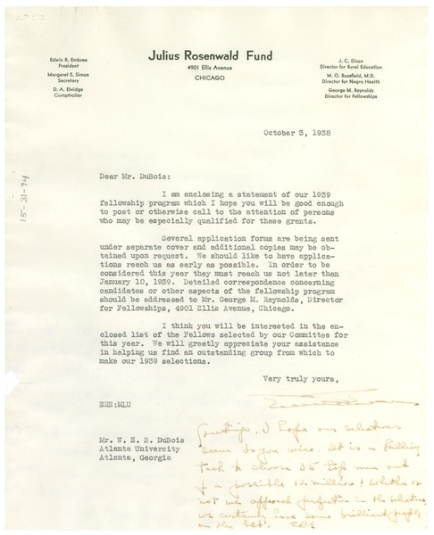 Letter from Julius Rosenwald Fund to W. E. B. Du Bois, October 3, 1938