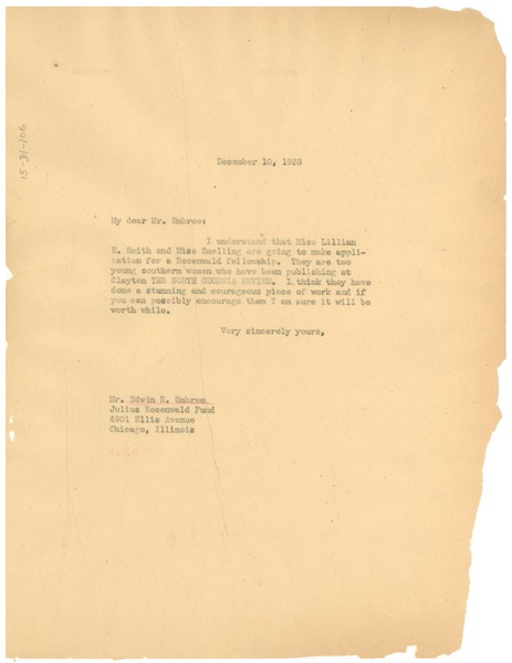 Letter from W. E. B. Du Bois to Julius Rosenwald Fund, December 10, 1938