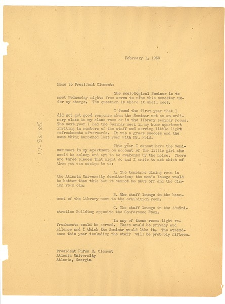 Memorandum from W. E. B. Du Bois to Atlanta University, February 1, 1939