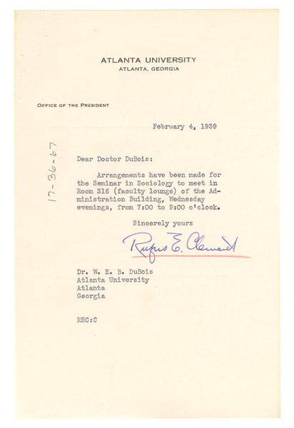 Memorandum from Atlanta University to W. E. B. Du Bois, February 4, 1939