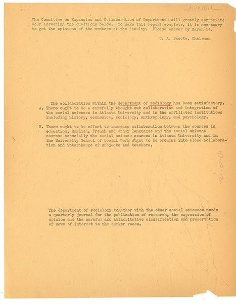 Atlanta University Committee on Expansion and Collaboration of Departments questionnaire, 1939?
