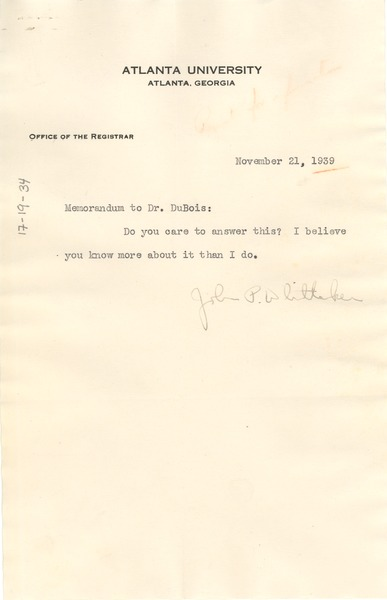 Memorandum from Atlanta University to W. E. B. Du Bois, November 21, 1939