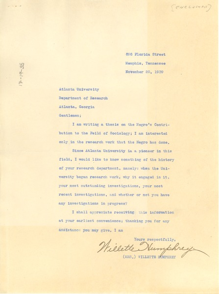 Letter from Willette Humphrey to Atlanta University, November 20, 1939