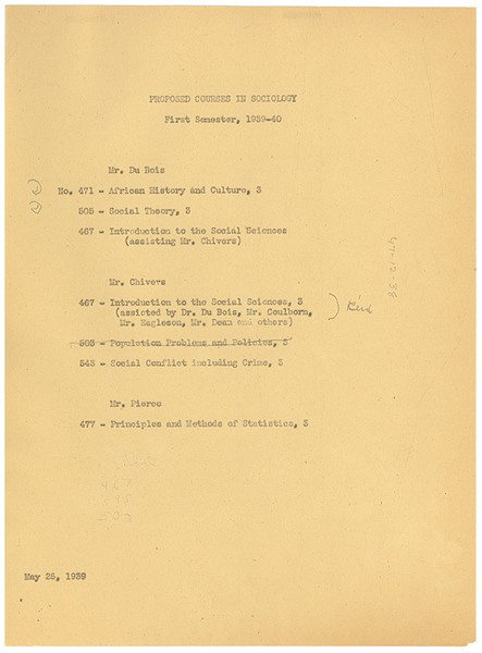 Proposed courses in Sociology, May 25, 1939