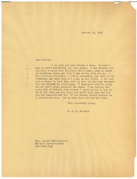 Letter from W. E. B. Du Bois to Rachel Davis DuBois, October 17, 1939