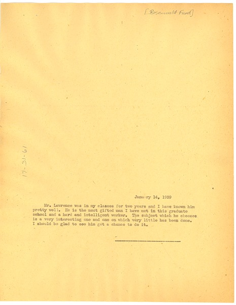 Letter from W. E. B. Du Bois to Julius Rosenwald Fund, January 14, 1939