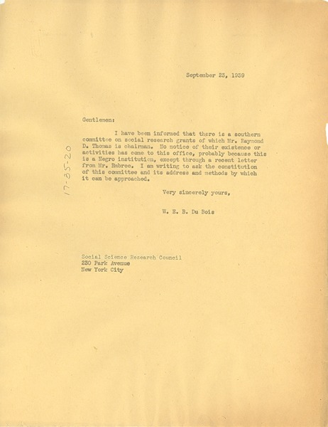 Letter from W. E. B. Du Bois to Social Science Research Council, September 23, 1939