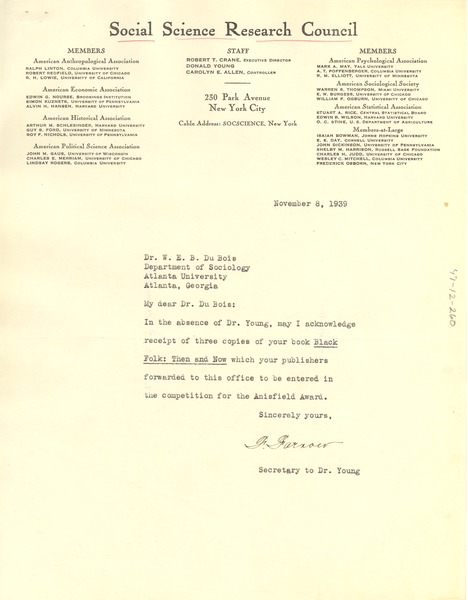 Letter from Social Science Research Council to W. E. B. Du Bois, November 8, 1939