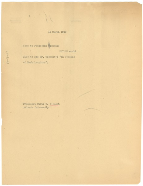 Memorandum from W. E. B. Du Bois to Rufus E. Clement, March 12, 1940