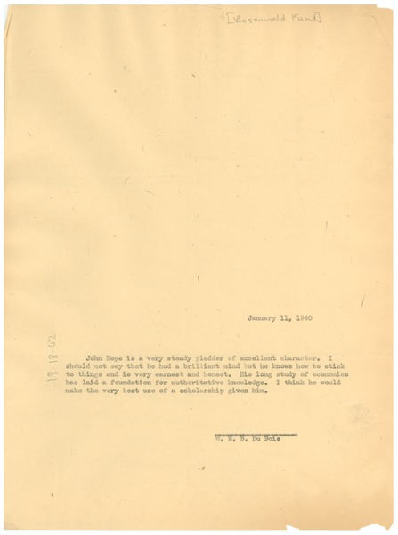 Letter from W. E. B. Du Bois to Julius Rosenwald Fund, January 11, 1940