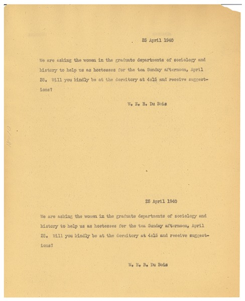 Letter from W. E. B. Du Bois to Spelman College, April 25, 1940