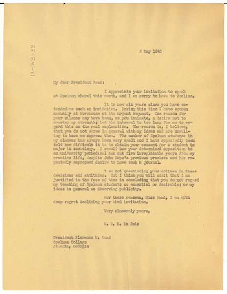 Letter from W. E. B. Du Bois to Spelman College, May 6, 1940