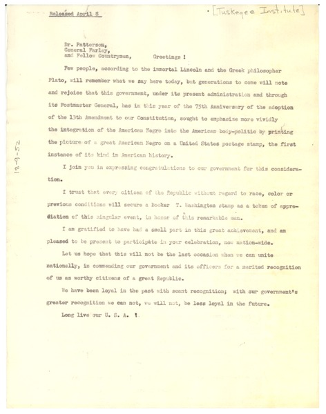 Tuskegee Institute address, April 8, 1940