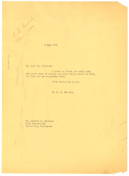 Letter from W. E. B. Du Bois to Andrew J. Allison, May 25, 1941