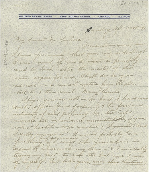 Letter from Mildred Bryant Jones to W. E. B. Du Bois, May 25, 1941