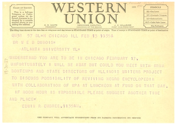 Telegram from Julius Rosenwald Fund to W. E. B. Du Bois, February 13, 1941