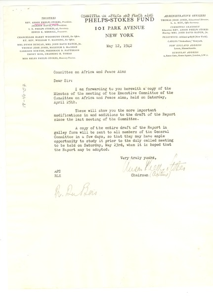 Circular letter from Phelps-Stokes Fund to W. E. B. Du Bois, May 12, 1942
