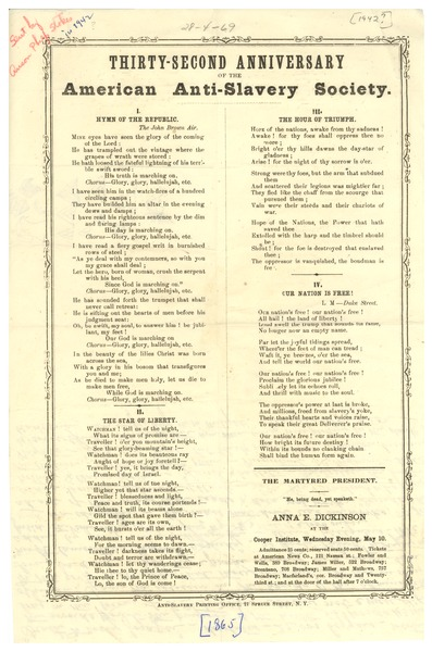 American Anti-Slavery Society Thirty-second Anniversary program, May 10, 1865