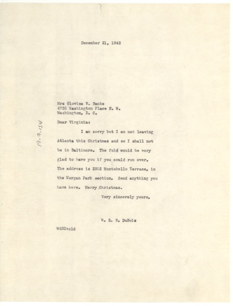 Letter from W. E. B. Du Bois to Glovina V. Banks, ca. December 21, 1943