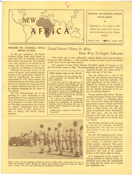 New Africa volume 2, number 1, August 1943