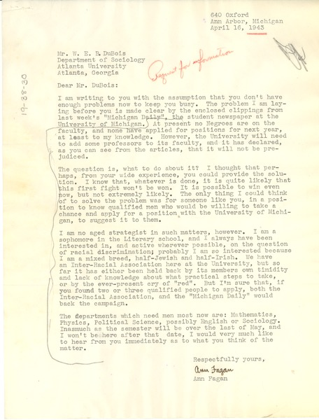 Letter from Ann Fagan to W. E. B. Du Bois, April 16, 1943