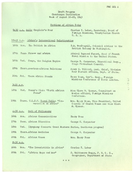 Chautauqua Institution draft program, ca. July 19, 1943