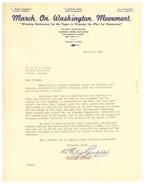 Circular letter from March on Washington Movement to W. E. B. Du Bois, March 27, 1943