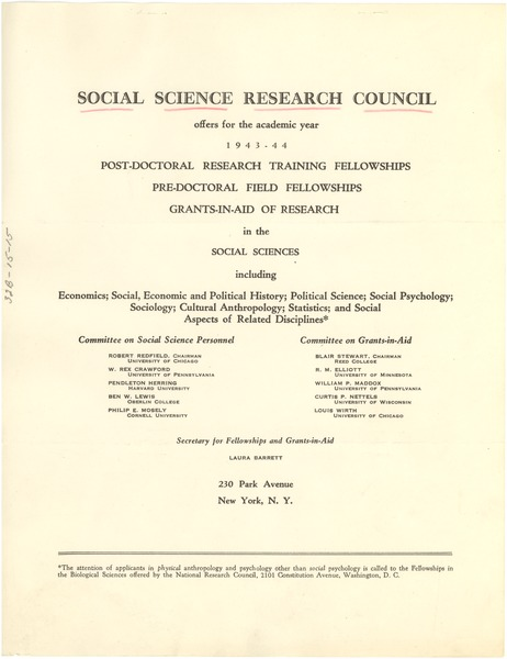 Social Science Research Council 1943-1944 research grants, 1943
