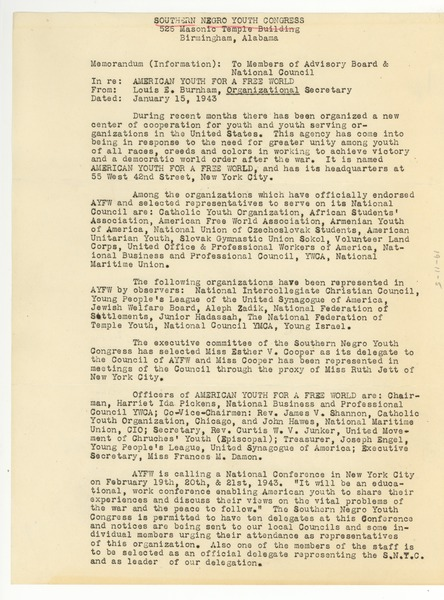 Memo from Southern Negro Youth Congress to Members of Advisory Board and National Council, January 15, 1943