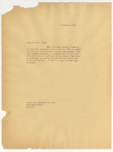 Memo from W. E. B. Du Bois to Florence M. Read, January 4, 1943