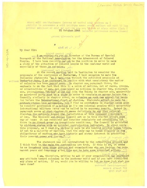 Circular letter from W. E. B. Du Bois to American Friends Service Committee, October 21, 1944