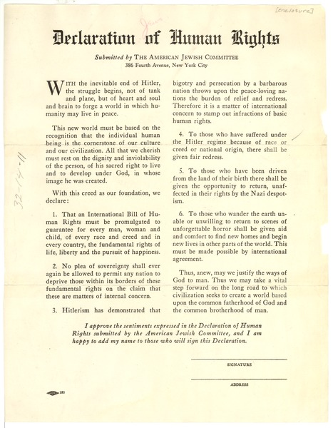 American Jewish Committee Declaration Of Human Rights Ca 1944