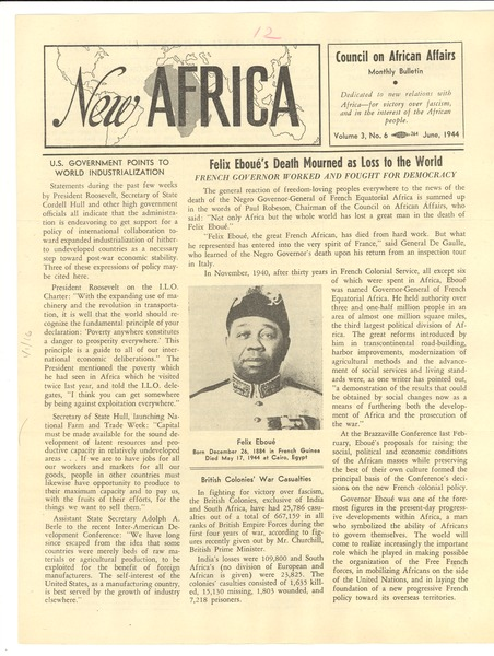 New Africa volume 3, number 6, June 1944