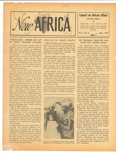 New Africa volume 3, number 8, August 1944