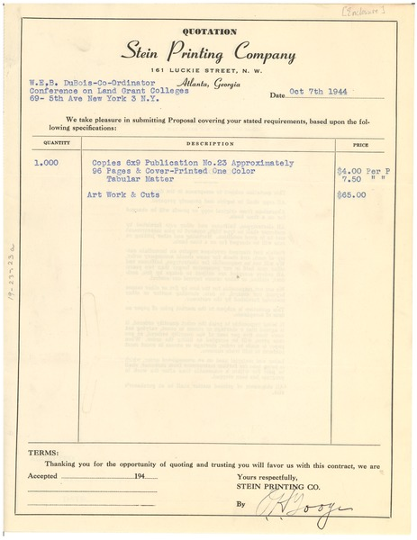 Contract between Stein Printing Company and W. E. B. Du Bois, October 7, 1944
