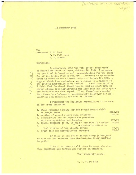Letter from W. E. B. Du Bois to Conference of Presidents of Negro Land Grant Colleges, November 13, 1944