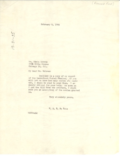 Letter from W. E. B. Du Bois to Julius Rosenwald Fund, February 9, 1944