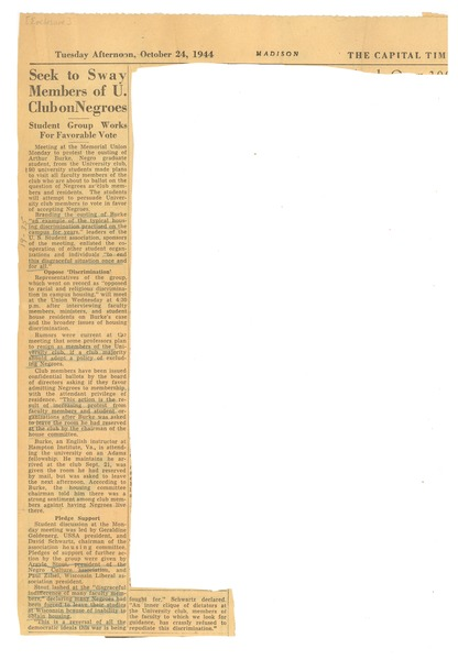 Seek to Sway Members of U. Club on Negroes: Student group works for favorable vote: , October 24, 1944