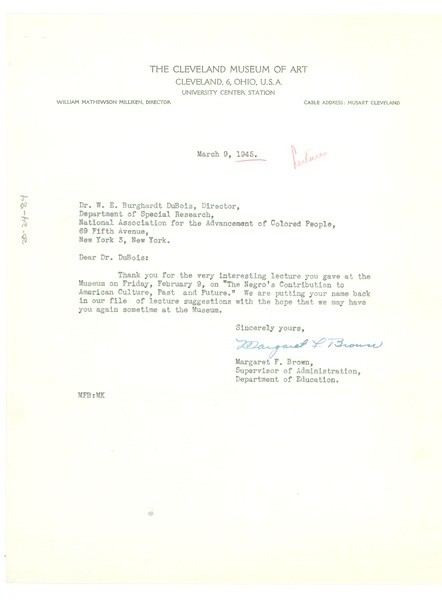 Letter from Cleveland Museum of Art to W. E. B. Du Bois, March 9, 1945