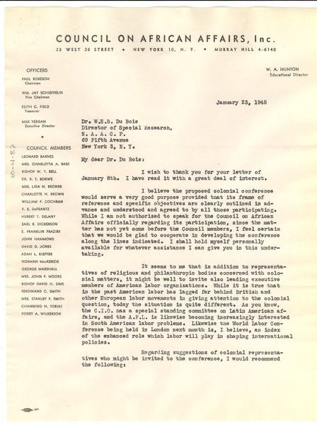 Letter from W. A. Hunton to W. E. B. Du Bois, January 23, 1945