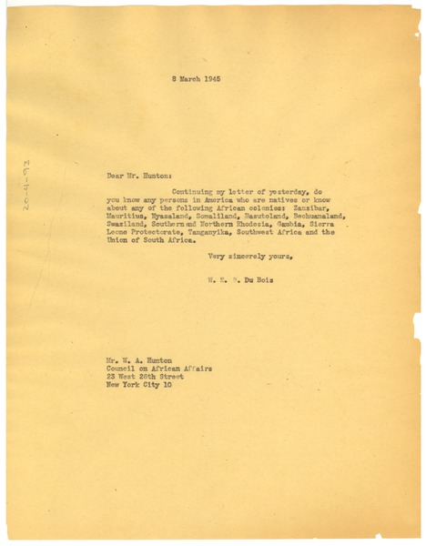 Letter from W. E. B. Du Bois to W. A. Hunton, March 8, 1945