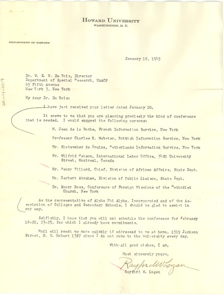 Letter from Rayford W. Logan to W. E. B. Du Bois, January 16, 1945