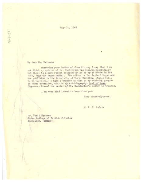 Letter from W. E. B. Du Bois to Basil Mathews, July 11, 1945