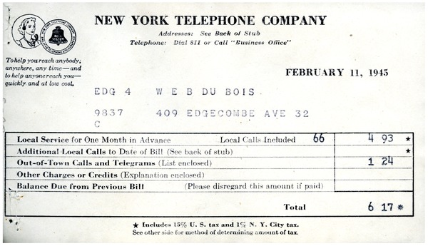 Invoice from New York Telephone Company to W. E. B. Du Bois, February 11, 1945