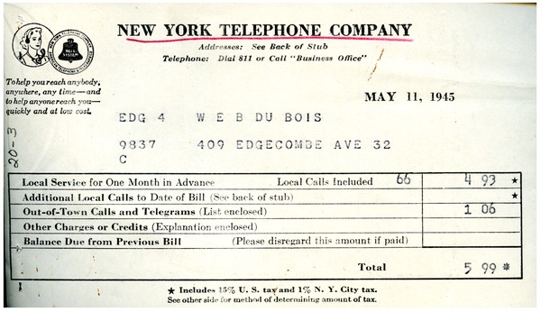Invoice from New York Telephone Company to W  E  B  Du Bois