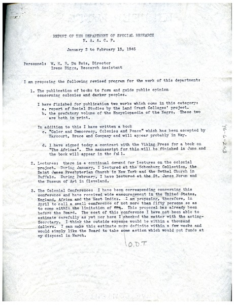 Report of the NAACP Department of Special Research, February 13, 1945