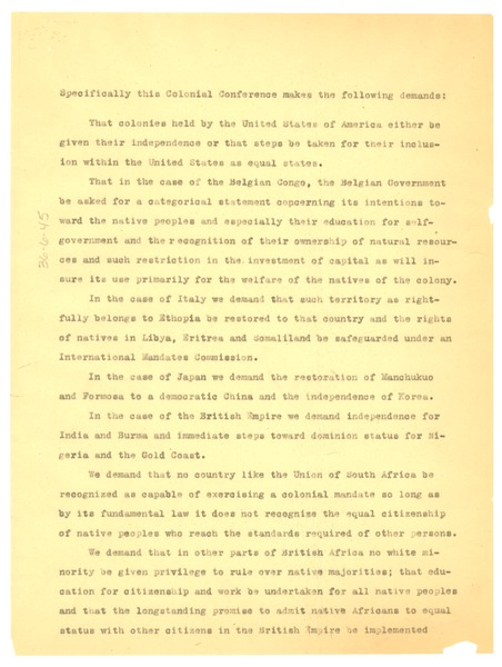 Memorandum on the Colonial Conference, April 1945