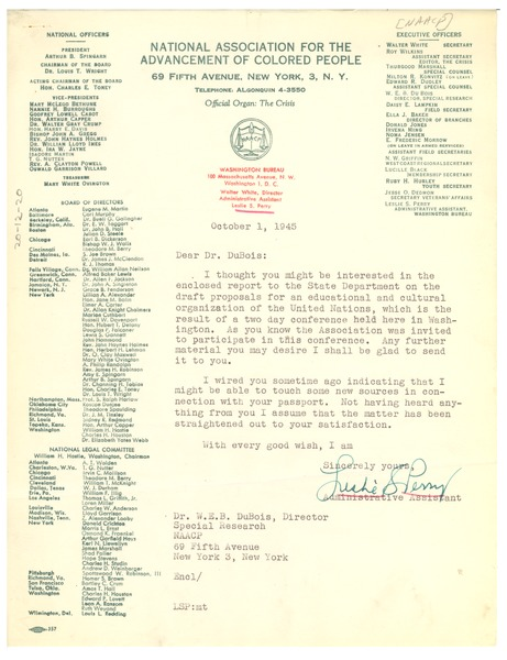 Letter from Leslie Perry to W. E. B. Du Bois, October 1, 1945