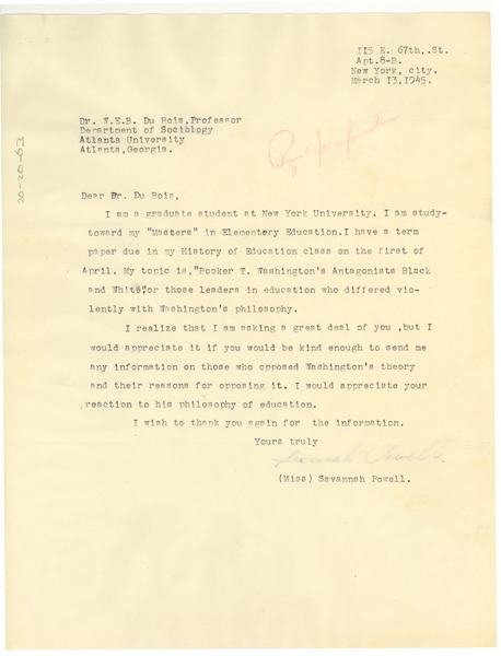 Letter from Savannah Powell to W. E. B. Du Bois, March 13, 1945