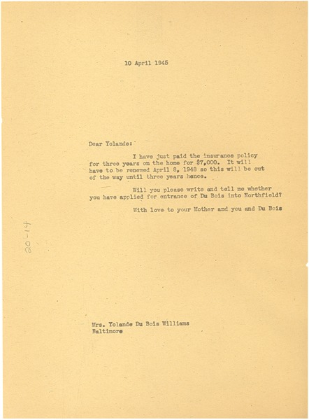 Letter from W. E. B. Du Bois to Yolande Du Bois Williams, April 10, 1945